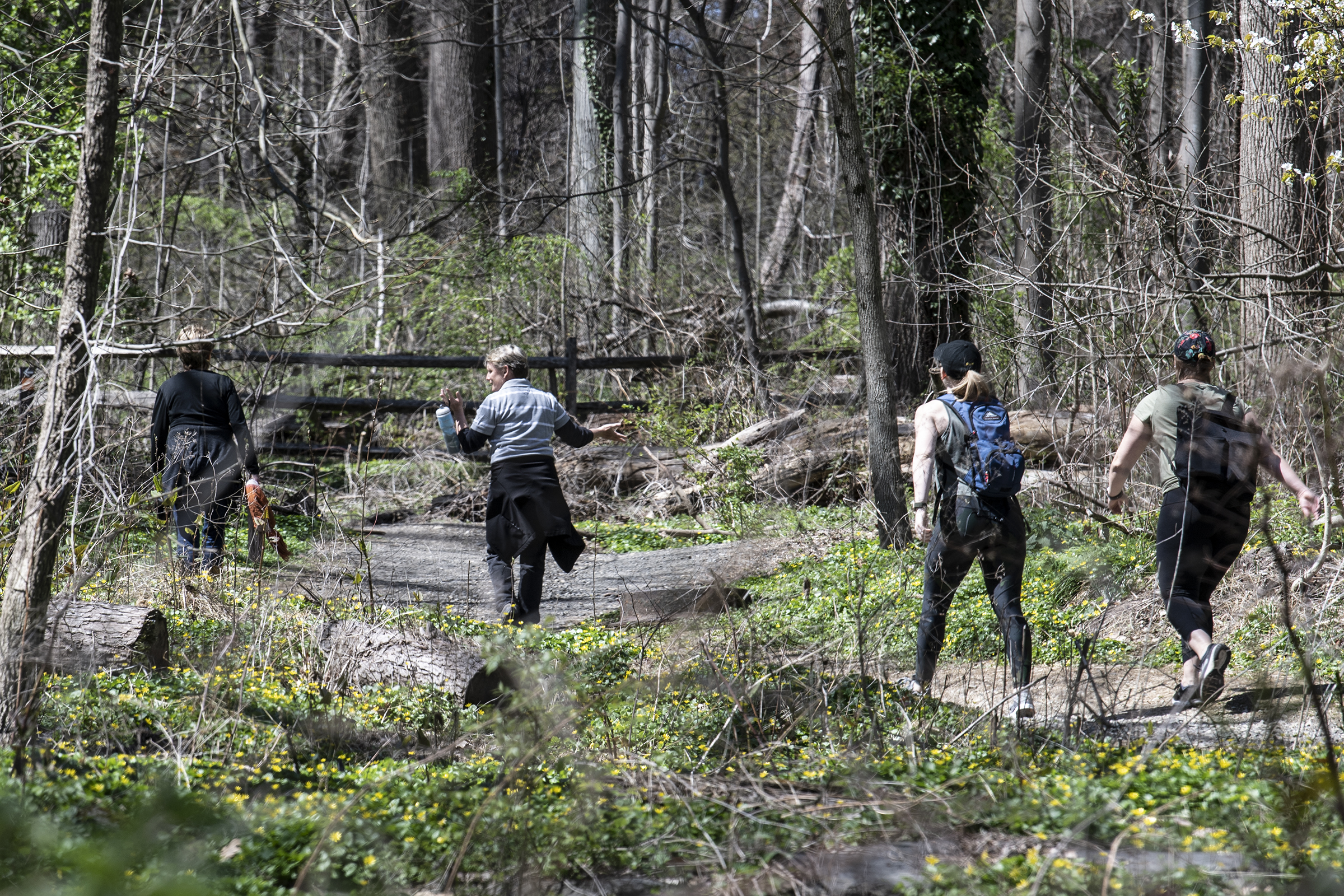People hike the trails at Wissahickon Valley Park during an sunny morning on Monday, April 6, 2020. The Park is seeing summer-level crowds, despite Gov. Wolf's stay-at-home order, and the result is taxing those who operate the 1,800 acres of forest, and trails.